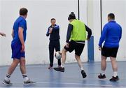 14 January 2019; Garda Adrian Healy, Roxboro Road Garda Station, referees the action during the FAI Late Nite League at Factory Youth Space, in Southill, Limerick. Photo by Seb Daly/Sportsfile