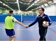 14 January 2019; Garda Adrian Healy, Roxboro Road Garda Station, shakes hands with a player during the FAI Late Nite League at Factory Youth Space, in Southill, Limerick. Photo by Seb Daly/Sportsfile