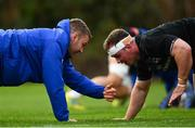 15 January 2019; Seán O'Brien, left, and Ed Byrne during Leinster Rugby squad training at Rosemount in UCD, Dublin. Photo by Ramsey Cardy/Sportsfile
