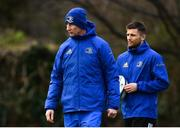 15 January 2019; Head coach Leo Cullen, left, and Ross Byrne during Leinster Rugby squad training at Rosemount in UCD, Dublin. Photo by Ramsey Cardy/Sportsfile