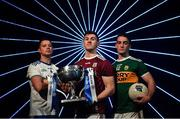 16 January 2019; The inter-county famine is about to end, giving way to a nine-week feast of Allianz Football League action between the weekend after next and the four divisional finals in Croke Park on March 30/31. The exciting programme features 116 games across the four divisions in a campaign which will mark the 27th year of Allianz' partnership with the GAA as sponsor of the Allianz Leagues, making it one of the longest-running sponsorships in Irish sport. In attendance at the Allianz Football League 2019 launch in Dublin are, from left, Ryan Wylie of Monaghan, Shane Walsh of Galway and Stephen O'Brien of Kerry. Photo by Brendan Moran/Sportsfile