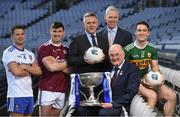 16 January 2019; The inter-county famine is about to end, giving way to a nine-week feast of Allianz Football League action between the weekend after next and the four divisional finals in Croke Park on March 30/31. The exciting programme features 116 games across the four divisions in a campaign which will mark the 27th year of Allianz' partnership with the GAA as sponsor of the Allianz Leagues, making it one of the longest-running sponsorships in Irish sport. In attendance at the Allianz Football League 2019 launch in Dublin are, from left, Ryan Wylie of Monaghan, Shane Walsh of Galway, Sean McGrath, CEO, Allianz Ireland, Peter Kilcullen, Chief Customer Officer, Allianz Ireland, Uachtaráin Cumann Lúthchleas Gael John Horan and Stephen O'Brien of Kerry. Photo by Brendan Moran/Sportsfile