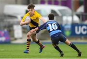 17 January 2019; Matias Ginnetti Latuf of The Kings Hospital is tackled by Jose Caetano Faria of Newpark Comprehensive during the Bank of Ireland Vinnie Murray Cup Round 2 match between The Kings Hospital and Newpark Comprehensive at Energia Park in Dublin. Photo by Eóin Noonan/Sportsfile