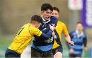17 January 2019; Leon Gallagher of Newpark Comprehensive is tackled by Adam Bagnall of The Kings Hospital during the Bank of Ireland Vinnie Murray Cup Round 2 match between The Kings Hospital and Newpark Comprehensive at Energia Park in Dublin. Photo by Eóin Noonan/Sportsfile