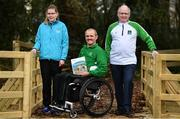 21 January 2019; Edele Armstrong, left, Special Olympic Athlete, Declan Slevin, centre, IWA, and Joe Geraghty, Vision Sport Ireland, at the Great Outdoors - A Guide for Accessibility event during the Sport Ireland National Sports Campus in Dublin. Photo by Sam Barnes/Sportsfile