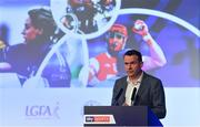 11 January 2019; Damian Lawlor, Author & Broadcaster, speaking during The GAA Games Development Conference, in partnership with Skysports, which took place in Croke Park on Friday and Saturday. A record attendance of over 800 delegates were present to see over 30 speakers from the world of Gaelic games, sport and education. Croke Park, Dublin. Photo by Piaras Ó Mídheach/Sportsfile
