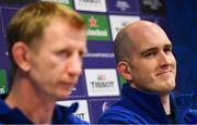 18 January 2019; Devin Toner, right, and head coach Leo Cullen during a Leinster Rugby press conference at Leinster Rugby Headquarters in UCD, Dublin. Photo by Ramsey Cardy/Sportsfile