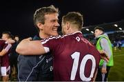 18 January 2019; Westmeath manager Jack Cooney celebrates with Ger Egan after the Bord na Móna O'Byrne Cup Final match between Dublin and Westmeath at Parnell Park, Dublin. Photo by Piaras Ó Mídheach/Sportsfile