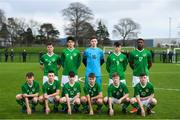 19 January 2019; The Republic of Ireland team, back row, from left, Gavin O'Brien, Anselmo Garcia MacNulty, Daniel Rose, Dylan Gavin, Sinclair Armstrong, front row, Fionnan Coyle, Jamie Doyle, Andrew Moran, Adam Wells, Kyle Martin-Conway and Ben McCormack prior to the U16 International Friendly match between Republic of Ireland and Australia at the FAI National Training Centre in Abbotstown, Dublin. Photo by Stephen McCarthy/Sportsfile