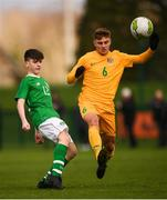 19 January 2019; Andrew Moran of Republic of Ireland and Jarrod Galea of Australia during the U16 International Friendly match between Republic of Ireland and Australia at the FAI National Training Centre in Abbotstown, Dublin. Photo by Stephen McCarthy/Sportsfile