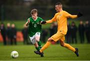 19 January 2019; Kyle Martin-Conway of Republic of Ireland in action against Ethan Beaven of Australia during the U16 International Friendly match between Republic of Ireland and Australia at the FAI National Training Centre in Abbotstown, Dublin. Photo by Stephen McCarthy/Sportsfile