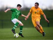 19 January 2019; Andrew Moran of Republic of Ireland in action against Rhys Osmond of Australia during the U16 International Friendly match between Republic of Ireland and Australia at the FAI National Training Centre in Abbotstown, Dublin. Photo by Stephen McCarthy/Sportsfile