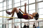 19 January 2019; Laura Dunlea of Eire Og Corra Choill AC, Co. Kildare, competing in the U14 Girls High Jump event, during the Irish Life Health Indoor Combined Events All Ages at AIT International Arena in Westmeath. Photo by Sam Barnes/Sportsfile