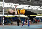 19 January 2019; Orla O'Sullivan of Leevale AC, Co. Cork, competing in the U14 Girls High Jump event, during the Irish Life Health Indoor Combined Events All Ages at AIT International Arena in Westmeath. Photo by Sam Barnes/Sportsfile