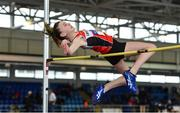 19 January 2019; Ashleigh McArdle of Lifford Strabane AC, Co. Donegal, competing in the U14 Girls High Jump event, during the Irish Life Health Indoor Combined Events All Ages at AIT International Arena in Westmeath. Photo by Sam Barnes/Sportsfile