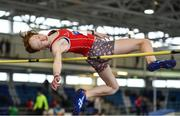 19 January 2019; Leagh Moloney of Dooneen AC, Co. Limerick, competing in the U14 Girls High Jump event, during the Irish Life Health Indoor Combined Events All Ages at AIT International Arena in Westmeath. Photo by Sam Barnes/Sportsfile