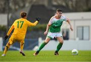 19 January 2019; Keith Carther of Republic of Ireland in action against Bailey Rule of Australia during a U18 Schools International friendly match between Republic of Ireland and Australia at Whitehall Stadium in Dublin. Photo by Eóin Noonan/Sportsfile