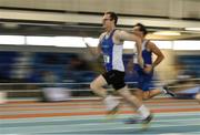 19 January 2019; Tom O'Brien of Waterford AC, Co. Waterford, competing in the Master Men 50+ 60m event, during the Irish Life Health Indoor Combined Events All Ages at AIT International Arena in Athlone, Co. Westmeath. Photo by Sam Barnes/Sportsfile