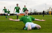 19 January 2019; Ben McCormack of Republic of Ireland celebrates after scoring his side's first goal during the U16 International Friendly match between Republic of Ireland and Australia at the FAI National Training Centre in Abbotstown, Dublin. Photo by Stephen McCarthy/Sportsfile