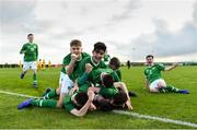 19 January 2019; Republic of Ireland players celebrate after Ben McCormack, hidden, scored their opening goal during the U16 International Friendly match between Republic of Ireland and Australia at the FAI National Training Centre in Abbotstown, Dublin. Photo by Stephen McCarthy/Sportsfile