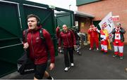 19 January 2019; Jacob Stockdale, left, and Rory Best of Ulster arrives ahead of the Heineken Champions Cup Pool 4 Round 6 match between Leicester Tigers and Ulster at Welford Road in Leicester, England. Photo by Ramsey Cardy/Sportsfile