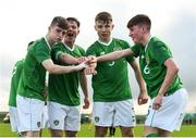 19 January 2019; Ben McCormack, left, celebrates with his Republic of Ireland team-mates, from left, Gavin O'Brien, Adam Wells and Colin Conroy after scoring his side's first goal during the U16 International Friendly match between Republic of Ireland and Australia at the FAI National Training Centre in Abbotstown, Dublin. Photo by Stephen McCarthy/Sportsfile