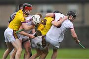 19 January 2019; Wexford players Diarmuid O'Keeffe, left, and Liam Óg McGovern in a tussle with Galway players Joe Mooney and Padraic Mannion, right, before Galway's Padraic Mannion and Wexford's Liam Ryan were both shown a straight red card by referee Seán Cleere in the first half during the Bord na Móna Walsh Cup Final match between Wexford and Galway at Bellefield in Enniscorthy, Wexford. Photo by Piaras Ó Mídheach/Sportsfile
