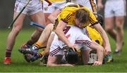 19 January 2019; Liam Óg McGovern of Wexford in a tussle with Padraic Mannion of Galway before Galway's Padraic Mannion and Wexford's Liam Ryan were both shown a straight red card by referee Seán Cleere in the first half during the Bord na Móna Walsh Cup Final match between Wexford and Galway at Bellefield in Enniscorthy, Wexford. Photo by Piaras Ó Mídheach/Sportsfile