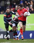 19 January 2019; Jacob Stockdale of Ulster is tackled by Jordan Olowofela of Leicester Tigers during the Heineken Champions Cup Pool 4 Round 6 match between Leicester Tigers and Ulster at Welford Road in Leicester, England. Photo by Ramsey Cardy/Sportsfile