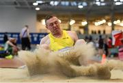19 January 2019; Mark McConnell of Omagh Harriers A.C., Co. Tyrone, competing in the Master Men 35-49 Long Jump event, during the Irish Life Health Indoor Combined Events All Ages at AIT International Arena in Athlone, Co.Westmeath. Photo by Sam Barnes/Sportsfile