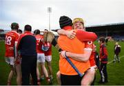 19 January 2019; Jack O'Callaghan of Charleville leaps into the arms of selector John Moloney following their side's victory in the AIB GAA Hurling All-Ireland Intermediate Championship semi-final match between Graigue-Ballycallan and Charleville at Semple Stadium in Tipperary. Photo by David Fitzgerald/Sportsfile