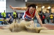 19 January 2019; Johnny Murphy of Ennis Track AC, Co. Clare, competing in the Master Men 50+ Long Jump event, during the Irish Life Health Indoor Combined Events All Ages at AIT International Arena in Athlone, Co.Westmeath. Photo by Sam Barnes/Sportsfile