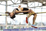 19 January 2019; Lara O'Byrne of Donore Harriers, Co. Dublin, competing in the Junior Women High Jump event, during the Irish Life Health Indoor Combined Events All Ages at AIT International Arena in Athlone, Co.Westmeath. Photo by Sam Barnes/Sportsfile