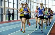 19 January 2019; Niamh Brady of St. Peter's AC, Co. Louth, leads the field whilst competing in the U15 Girls 800m event, during the Irish Life Health Indoor Combined Events All Ages at AIT International Arena in Athlone, Co.Westmeath. Photo by Sam Barnes/Sportsfile