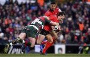 19 January 2019; Billy Burns of Ulster is tackled by Dan Cole of Leicester Tigers during the Heineken Champions Cup Pool 4 Round 6 match between Leicester Tigers and Ulster at Welford Road in Leicester, England. Photo by Ramsey Cardy/Sportsfile