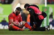 19 January 2019; Marcell Coetzee of Ulster is treated for an injury before being substituted during the Heineken Champions Cup Pool 4 Round 6 match between Leicester Tigers and Ulster at Welford Road in Leicester, England. Photo by Ramsey Cardy/Sportsfile