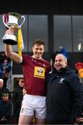 19 January 2019; Westmeath captain Tommy Doyle and Pat Lynagh, Leinster GAA Treasurer, with the Kehoe Cup following the Bord na Mona Kehoe Cup Final match between Westmeath and Antrim at the GAA Games Development Centre in Abbotstown, Dublin. Photo by Stephen McCarthy/Sportsfile