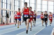 19 January 2019; Finn O'Neill of City of Derry Spartans A.C., Co. Derry, leads the field whilst competing in the U15 Boys 800m event, during the Irish Life Health Indoor Combined Events All Ages at AIT International Arena in Athlone, Co.Westmeath. Photo by Sam Barnes/Sportsfile