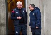19 January 2019; Wexford manager Davy Fitzgerald shares a joke with Galway kitman James 'Tex' Callaghan before the Bord na Móna Walsh Cup Final match between Wexford and Galway at Bellefield in Enniscorthy, Wexford. Photo by Piaras Ó Mídheach/Sportsfile