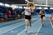 19 January 2019; Seoighe English of St. Abbans AC, Co. Carlow, crosses the line to win the U16 Girls 800m event, during the Irish Life Health Indoor Combined Events All Ages at AIT International Arena in Athlone, Co.Westmeath. Photo by Sam Barnes/Sportsfile