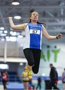 19 January 2019; Anna DeCourcy of Waterford AC, Co. Waterford, competing in the Master Women 35-49 Long Jump event, during the Irish Life Health Indoor Combined Events All Ages at AIT International Arena in Athlone, Co.Westmeath. Photo by Sam Barnes/Sportsfile