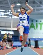 19 January 2019; Eilish Lynch of Lusk AC, Co. Dublin, competing in the Master Women 35-49 Long Jump event, during the Irish Life Health Indoor Combined Events All Ages at AIT International Arena in Athlone, Co.Westmeath. Photo by Sam Barnes/Sportsfile