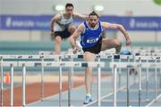 19 January 2019; Gerard O'Donnell of Carrick-on-Shannon AC, Co. Leitrim, competing in the Senior Men 60m Hurdles event, during the Irish Life Health Indoor Combined Events All Ages at AIT International Arena in Athlone, Co.Westmeath. Photo by Sam Barnes/Sportsfile