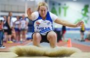 19 January 2019; Lisa Donoghue of Lusk AC, Co.Dublin, competing in the Master Women 35-49 Long Jump event, during the Irish Life Health Indoor Combined Events All Ages at AIT International Arena in Athlone, Co.Westmeath. Photo by Sam Barnes/Sportsfile