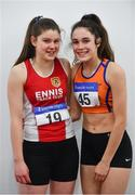 19 January 2019; Ava Rochford of Ennis Track AC, Co. Clare, left, and Laura Frawley of St. Marys AC, Co. Limerick, pose for a photograph during the Irish Life Health Indoor Combined Events All Ages at AIT International Arena in Athlone, Co.Westmeath. Photo by Sam Barnes/Sportsfile