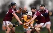 19 January 2019; Donal McKinley of Antrim in action against Westmeath players, from left, Paul Greville, Aonghus Clarke and Kevin Regan during the Bord na Mona Kehoe Cup Final match between Westmeath and Antrim at the GAA Games Development Centre in Abbotstown, Dublin. Photo by Stephen McCarthy/Sportsfile