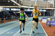 19 January 2019; Finn Woodger of Metro/St. Brigid's AC, Co. Dublin, left, and Diarmuid O'Connor of Bandon AC, Co. Cork, competing in the Youth Men 800m event, during the Irish Life Health Indoor Combined Events All Ages at AIT International Arena in Athlone, Co.Westmeath. Photo by Sam Barnes/Sportsfile