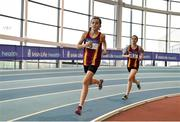 19 January 2019; Laura Dunlea, left, and Allison Dempsey of Eire Og Corra Choill AC, Co.Kildare , competing in the U14 Girls 800m event, during the Irish Life Health Indoor Combined Events All Ages at AIT International Arena in Athlone, Co.Westmeath. Photo by Sam Barnes/Sportsfile