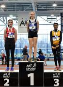 19 January 2019; U14 Girls medallists, from left, Veronica O'Neill of City of Derry Spartans A.C., Co. Derry, silver, Hannah Falvey of Belgooly AC, Co.Cork, gold, and Okwu Backari of Leevale AC, Co. Cork, bronze, during the Irish Life Health Indoor Combined Events All Ages at AIT International Arena in Athlone, Co.Westmeath. Photo by Sam Barnes/Sportsfile