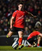 19 January 2019; John Cooney of Ulster kicks a conversion during the Heineken Champions Cup Pool 4 Round 6 match between Leicester Tigers and Ulster at Welford Road in Leicester, England. Photo by Ramsey Cardy/Sportsfile